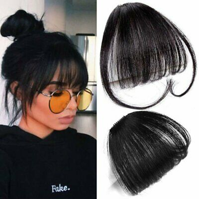 Thin/Neat Air Bangs Fringe Clip In Fake Hair Extensions Hairpiece Black Brown
