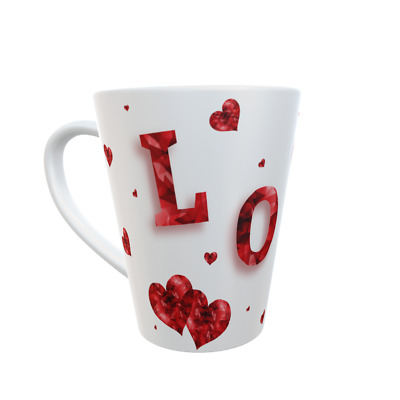 Colourful Love & Heart - 12oz Ceramic Brightly Printed Latte Mug