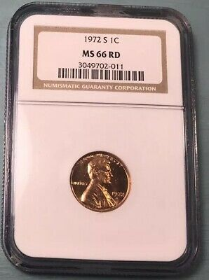 1972 S Lincoln Cent NGC MS 66 RD