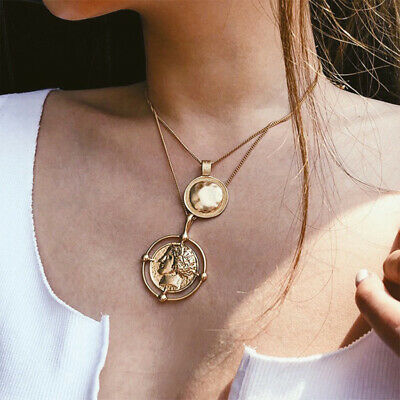 NEW Choker Necklace Pendant Figure Medal Coin Chain Multi-Layer Women Jewelry