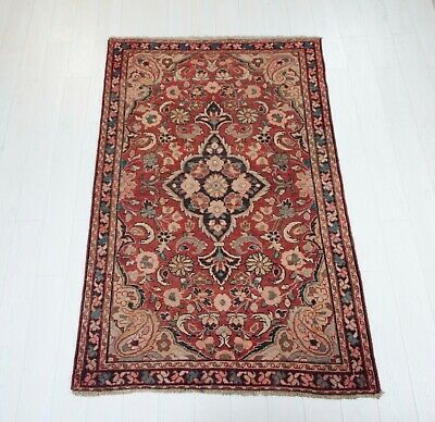 4x6.46ft. Floral Antique Hand-Knotted Persian Tribal Area Rug,Red Vintage Rug