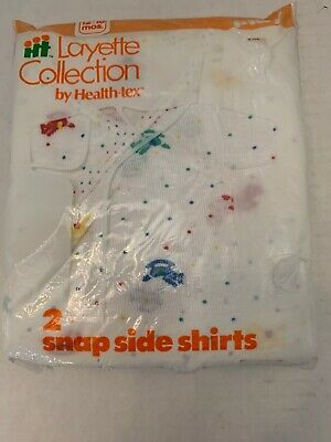 Vintage Health-Tex Layette Collection Baby Snap Side Shirts Pack of 2 New 12-18m
