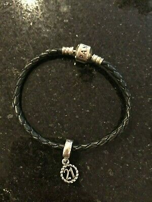 4eb21f2db Black LEATHER Pandora Charm Bracelet with Sterling Silver Charm and Barrel  Clasp