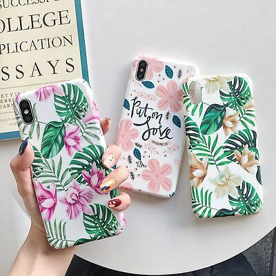 Luminous Green Leaf and Flower PC Phone Case for iPhone 7 8 X XS XR XS MAX 6 6s