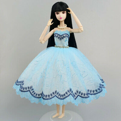 Blue Party Dress Fashion Doll Clothes For Barbie Doll Dresses Outfits 1/6 Toy