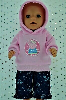 """Play n Wear Doll Clothes To Fit 17"""" Baby Born PINK HOODIE~DENIM PATTERN PANTS"""