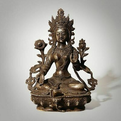 "8.3""H Antiques Chinese Bronze Silver Buddha Statue Sitting Figurine Sculpture"