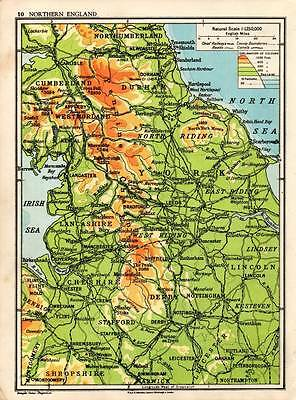 Northern England 1938 Original Antique Map