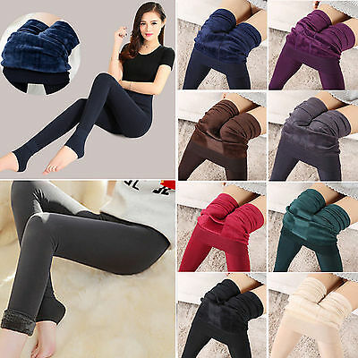 Women Warm Winter Fleece Lined Thick Thermal Stretchy Skinny Leggings Pants AU