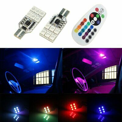 2pc T10 12V RGB 5050 12 LED Car Interior Reading Wedge Dome Light Remote Control