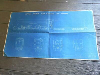 C 1940 Victorian Railways Class S Streamlined 4-6-2 Locomotive VR Blueprint