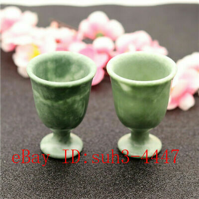 2pcs Natural Green Jade Wine Glass Chinese Style Cup Hand-carved Crafts Gifts A1