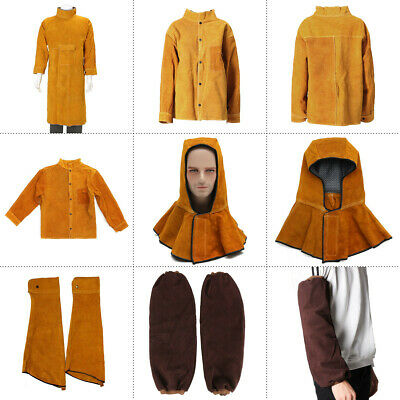 Welding Leather Cowhide Coat Apron Clothes Apparel Welder Sleeves Jacket Safety