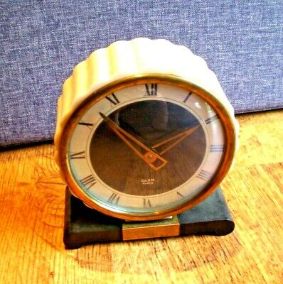 Antique 1930's Art Deco Glen Bakelite and Glow Casing Mantel Clock (Brass Bezel)