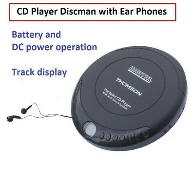 CD Player with Earphones Music Player Walkman Discman Battery and DC Power NEW