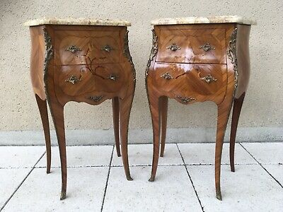 French Marquetry Pair Bedside Cabinets Occasional Tables Louis XV Ormolu Mounts