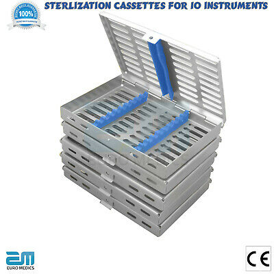 Dental Sterilisation Cassettes Autoclavable for 10 instruments Steel Lab trays