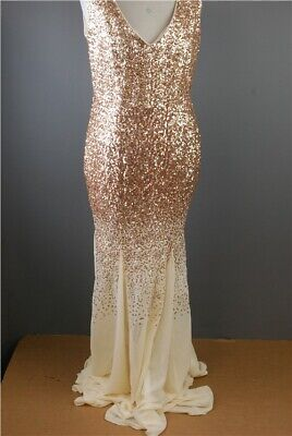 GODDIVA Champagne Coloured Sequin Dress. Prom, Bridesmaid, Evening. BNWT, UK 14.