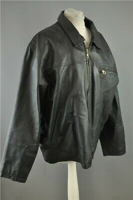 "Vintage Mens Genuine Leather Jacket Territory Clothing Co. Black Large 42"" Chest"