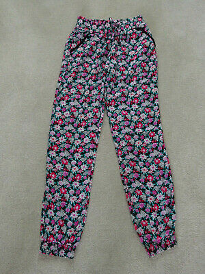 Girls Pink,Jade,White & Black Floral Trousers Age 11-12 Years By Young Dimension