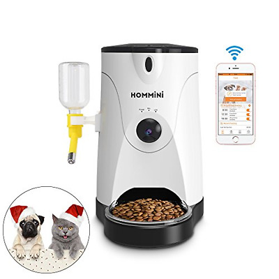 HOMMINI Smart Feeder, Automatic Pet Feeder with 110° HD Camera Video Voice Water