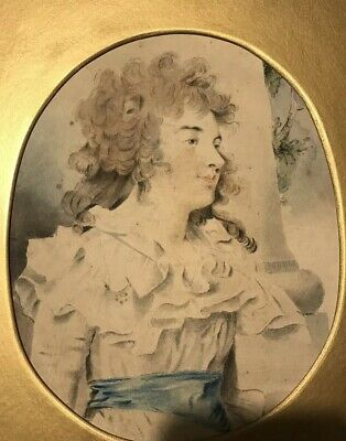 Antique Print  -Of 18th Century Watercolour Portrait Painting Of A Georgian Lady