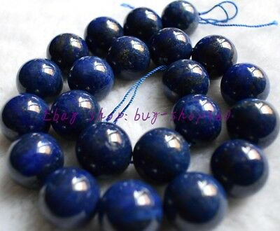 "Natural 12mm Round Blue Lapis Lazuli Gemstone Loose Beads 15"" AAA"
