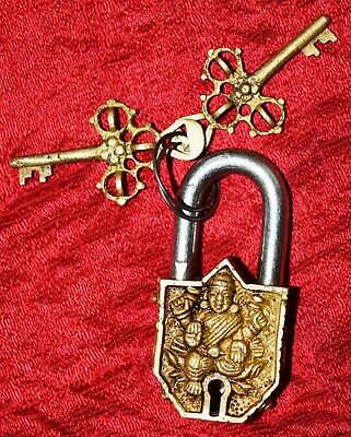 Golden Design Small Brass Padlock Tibetan Lord Buddha Little Door Lock Dec MJ28