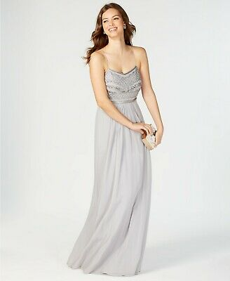 $395 Adrianna Papell Womens Gray Bead Sequin Embellished Long Gown Dress Size 14