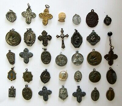 Antique Vintage Religious Catholic Medal Lot of (34) from Italy