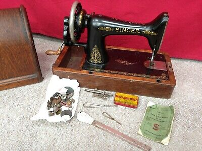 Antique Vintage Singer Manual Sewing Machine & Round Case