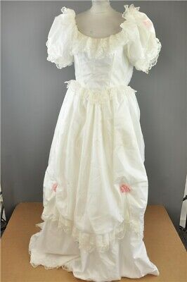 Vintage 1980's 'Cinderella' Style White Wedding Dress with Lace Detail Size 10