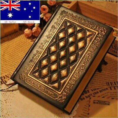 Hardcover Vintage Embossed Plaid PU Leather Travel Journal Retro Notebook Diary