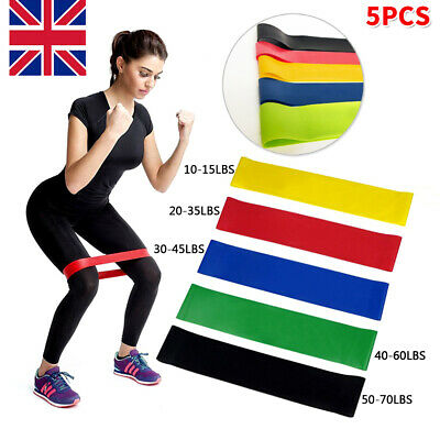 5x Resistance Bands Workout Exercise Elastic Band Fitness Equipment Yoga GYM UK