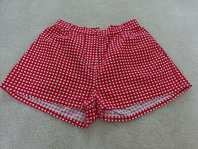 Girls Cotton Red & White Checked Shorts By TU Age 12 Years