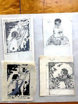Margaret Iannelli 4 original drawings Prairie School peer of FL Wright c.1925