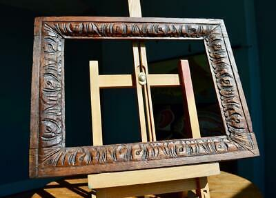 "SUPERB ANTIQUE CARVED OAK PICTURE FRAME 11"" X 8"" REBATE v ARTS & CRAFTS NOUVEAU"