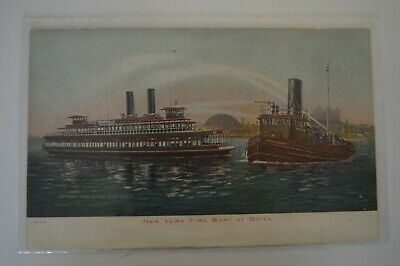 1904 Ill Post Card Co N.Y. 1929 New York Fire Boar At Drill Color Postcard