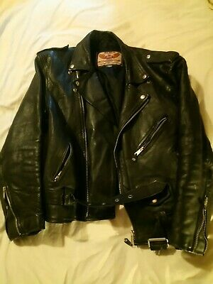 Mens Genuine Vintage Heavy Biker Style Leather Jacket by AKASO