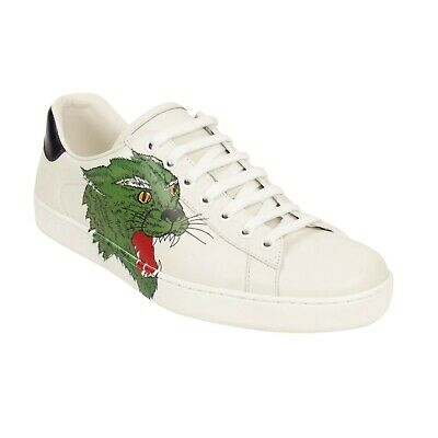 a8ab90870 NIB GUCCI White Leather Panther Ace Lace Up Sneakers Shoes 8 UK 9 US $790