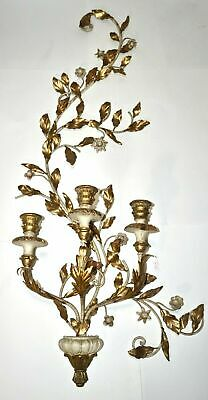 French Carved Gilt Wood & Metal Sconce Candelabra Louis XVI Parisian Antique