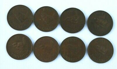 Eight (8) GEORGE VI 1937 - 1948 FARTHING COINS. (The Wren) V.Good Condition