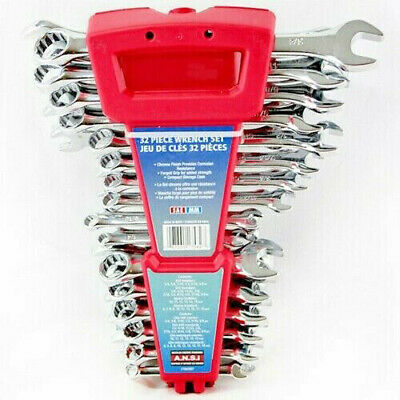 32pc Piece Combination wrench set Imperial Metric Spanner Tools Polished SAE