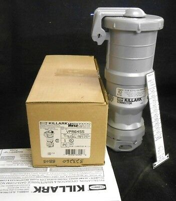 Killark Hubbell Connector Body Receptacle Vpr6455, 60A, 4W, 4P, 250 Vdc, 600 Vac
