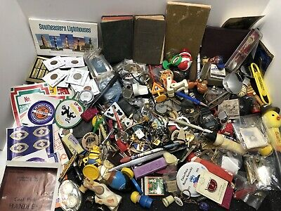 JUNK DRAWER Collectible or resale lot: Old Labels, Coins, Toys, Watches, Pins