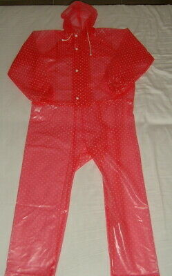PVC coverall  pink dotted  transparent  pvc coverall