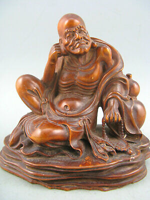 Antique Chinese Old Boxwood Hand carved Arhat Monk Buddha Statue