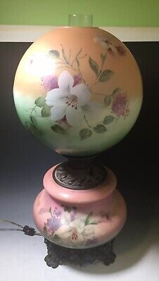 Antique Hand Painted Gone With The Wind Oil Lamp Victorian Flowers Parlor