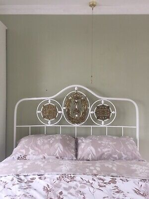 Unusual Vintage Double Bed Frame With Intricate Brass Motif Embellishments.
