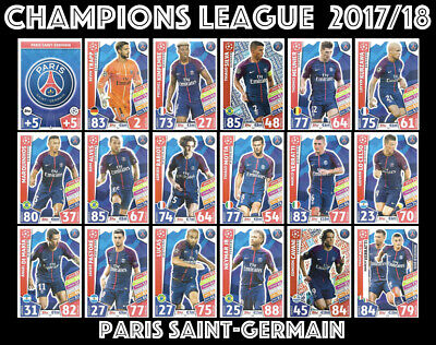 Match Attax Champions League  2017/18 Full 18 Card Team Set Paris Saint-Germain